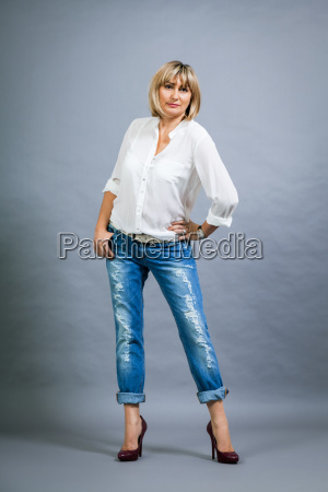 adult blonde attractive woman with blue