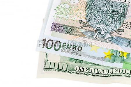banknotes of 100 dollars euro and