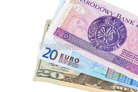 banknotes of 20 dollars euro and