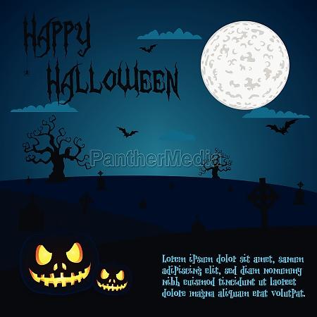halloween illustration of pumpkins at cemetery