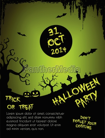 halloween party flyer template green