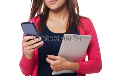 close up of woman with digital