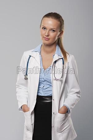 portrait of beautiful blonde female doctor