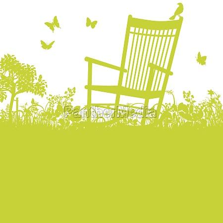 krzeslo bujane w ogrodzie