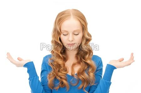 lueless kobieta shrugging bezradny z jej