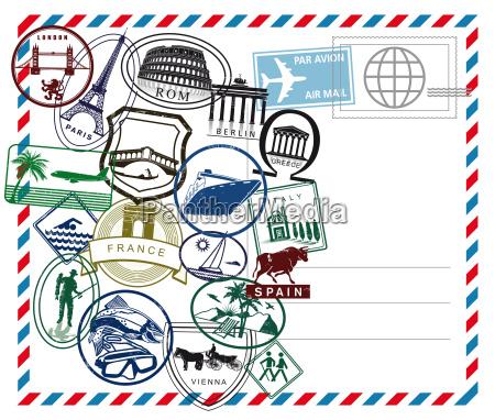 world travel airmail pieczec na bialym