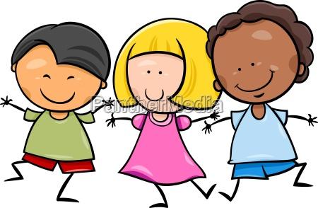 wielokulturowy dzieci animowanych ilustracji
