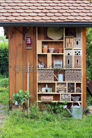 insect hotel at a garden hut