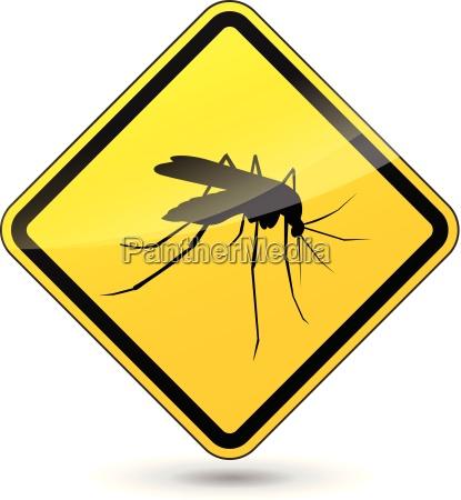 wektor uwazaj na komary znak