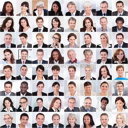 kolaz ludzi biznesu usmiechniety