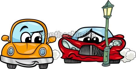 ilustracja kreskowka samochod sportowy rozbil
