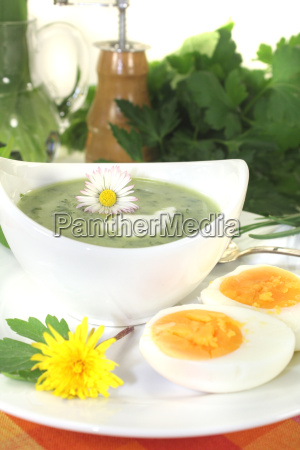green herbal soup with creamy spices