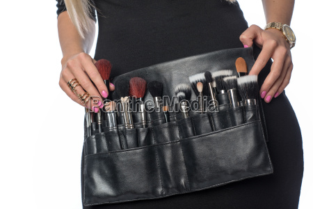 cosmetic bag with lots of powder
