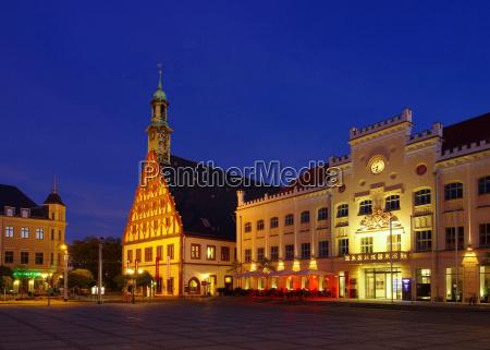 zwickau city hall and gewandhaus night
