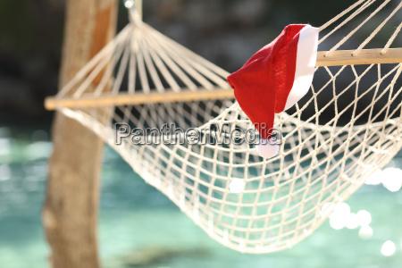 hamak w tropikalnej plazy na swieta