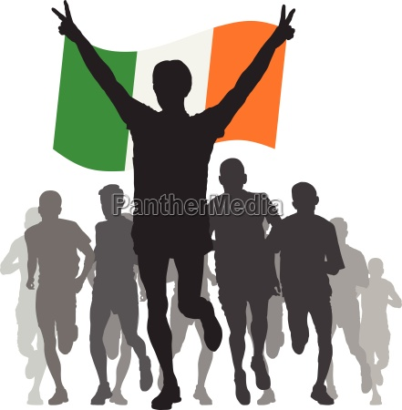 winner with the ireland flag at