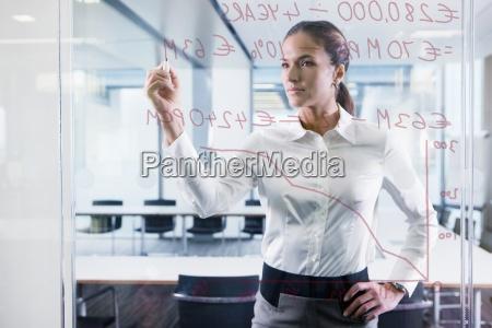 businesswoman rysunek wykres na szybe w