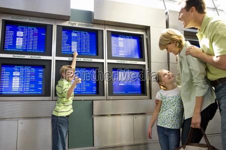 rodzina stoi w hali odlotow lotniska