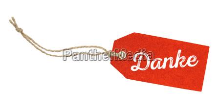 czerwony wisiorek z napisem dziekuje