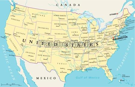 polityczna mapa stanow zjednoczonych