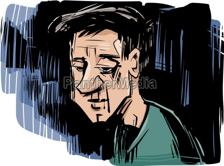 ilustracja myslenia mezczyzna rysunek