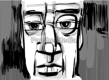 czlowiek twarz artystyczny rysowanie ilustracja