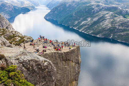 preikestolen pulpit rock at lysefjorden norway