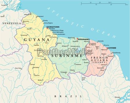 gujana surinam i mapa polityczna gujany