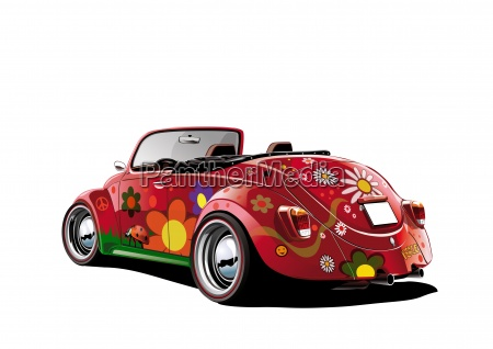 hippie beetle kabriolet bialy