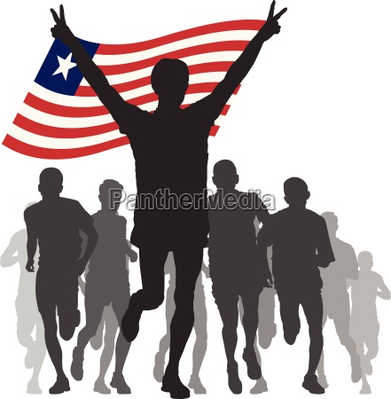 winner with the liberia flag at