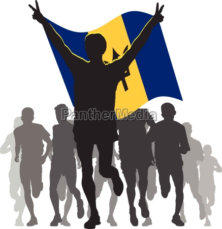 winner with the barbados flag