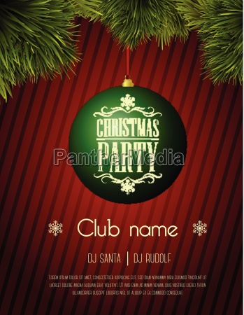 christmas party flyer template green