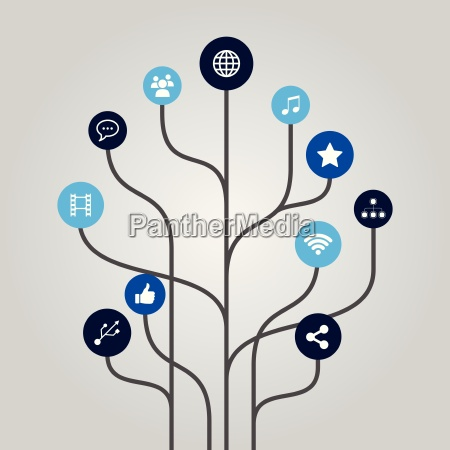 abstract icon tree illustration internet