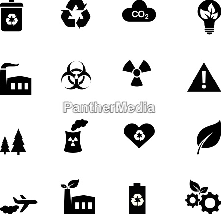 set of flat icons ecology