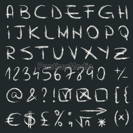 wektor alfabetu narysowany recznie