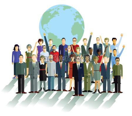 grupa ludzi przed globu