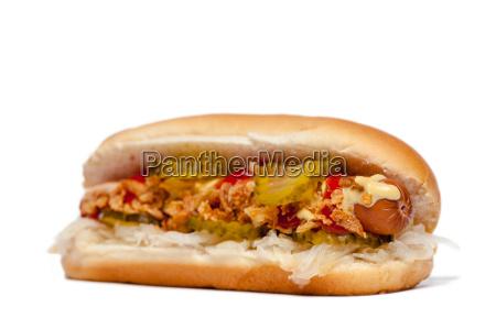 hotdoghot dog przed bialym