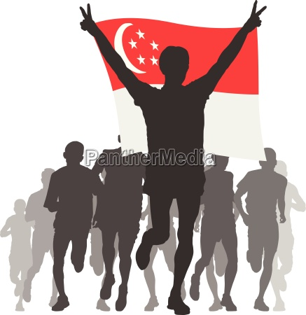 athlete with the singapore flag at