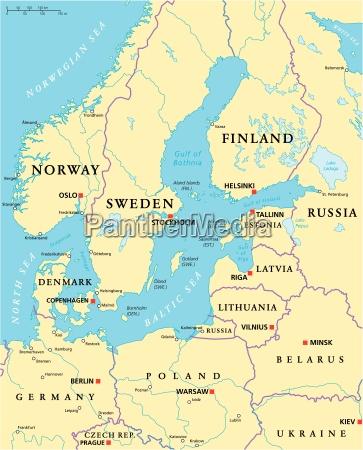 mapa polityczna obszaru morza baltyckiego