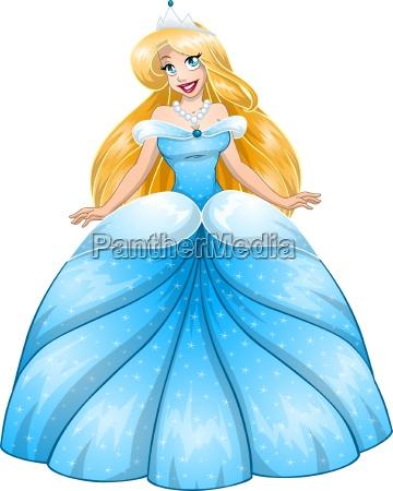 blond ksiezniczka w niebieskiej sukni