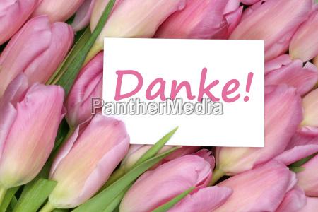 dziekuje karta podarunkowa z tulipanami kwiaty