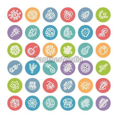 zestaw okraglej ikony z bakterii i