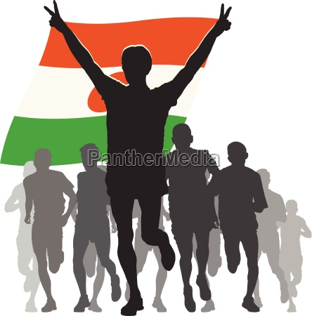 athlete with the niger flag at