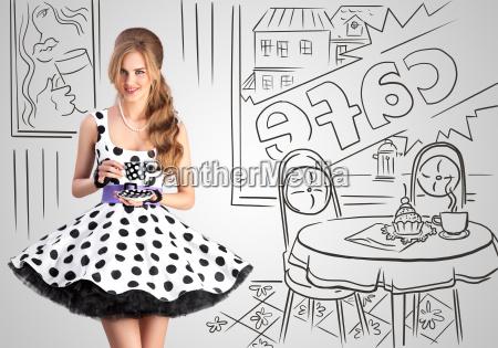 kobieta womane baba kawiarnia szklo kubek
