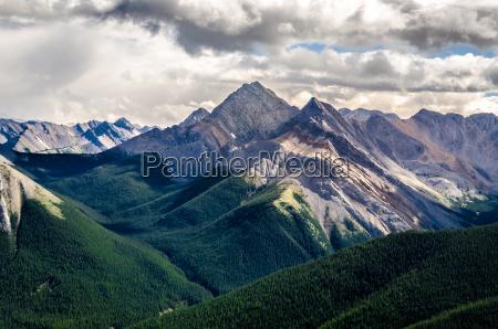 sceniczny widok skalistych gor pasmo alberta