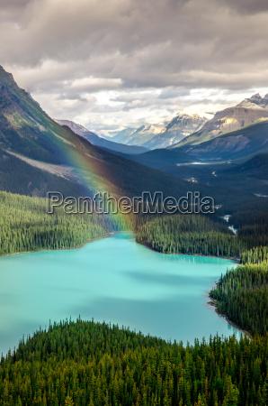 malowniczy widok na gory jeziora peyto