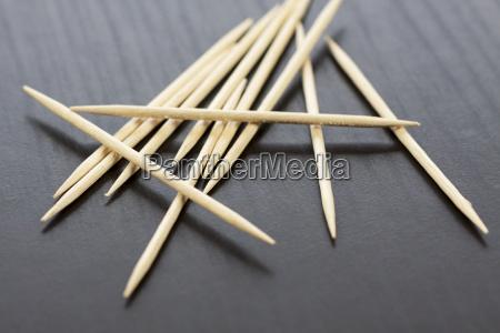 stos drewnianych wykalaczki jako zblizenie makro