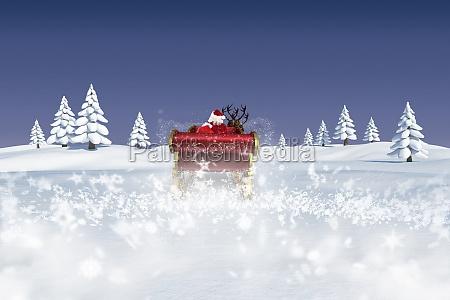 composite obraz santa plywajace pod jego