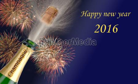 nowy rok 2016 z szampanii latanie