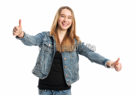 girl in jeans showing thumbs up